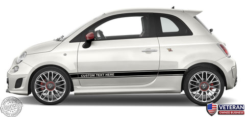 Custom Text Door Runner Rocker Panel stripes - Pair - fits Fiat 500c Abarth