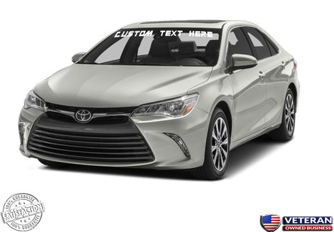 Custom Text Windshield Banner Vinyl Decal - Fits Toyota Camry