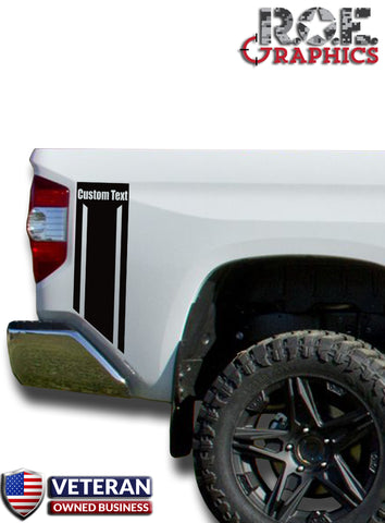Custom Text Truck Bed Side Stripes Vinyl Decals Fits 2014-2018 Toyota Tundra