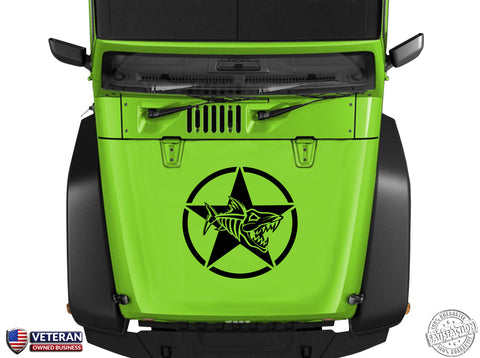 "Oscar Mike Fish Skeleton Star Hood Vinyl Decal 23"" Fits: Jeep Wrangler TJ JK LJ"