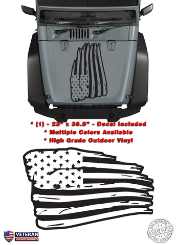 (1) US Flag Distressed Wavy Inverted USA Vinyl Hood Decal fits Jeep Wrangler TJ JK LJ