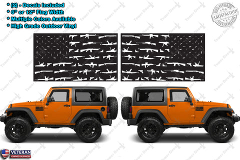 "(2) 6 or 12"" GunS American Flag Window Door Fender Vinyl Decals Old Glory USA Fits: Jeep"