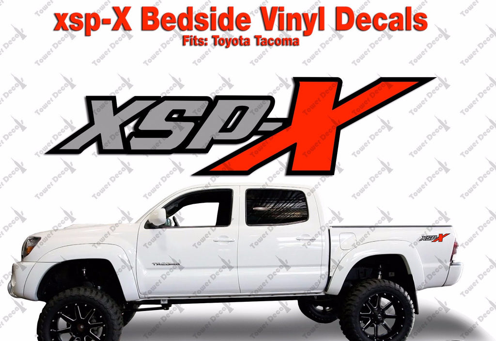Xsp x 3 color package vinyl decals truck bedside fits toyota tacoma