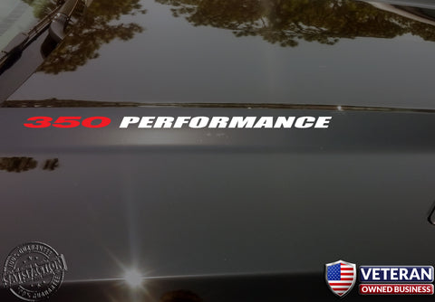 350 PERFORMANCE Hood Vinyl Decals Fits: Small Block V8 Chevrolet Trucks and Cars