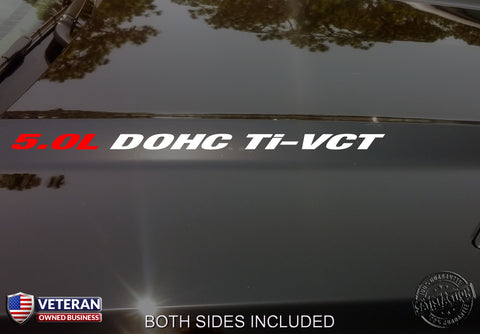 5.0L DOHC Ti-VCT Hood Vinyl Decals Stickers Fit Ford Mustang F150 Boss V8 Coyote