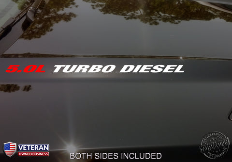5.0L Turbo Diesel Hood Vinyl Decals Stickers Fits Nissan Titan HD