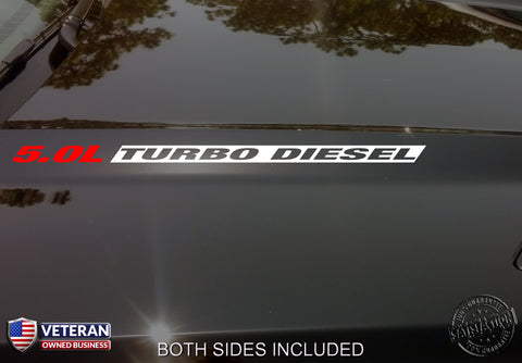 5.0L Turbo Diesel Hood inv Vinyl Decals Stickers Fits Nissan Titan HD