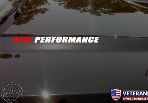 5.3L PERFORMANCE hood decal emblem fits: CHEVY GMC SILVERADO SIERRA 1500 VORTEC