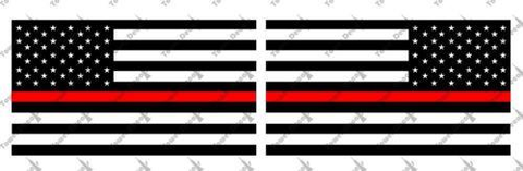 2x US Thin Red Line Flag Vinyl Decal Fire Fighter America Fits Jeep Wrangler CJ