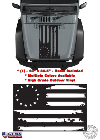 (1) US Flag Distressed 13 Stars Inverted USA Vinyl Hood Decal fits Jeep Wrangler TJ JK LJ