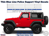 SUPPORT Police Officers Thin Blue Line American Flag Vinyl Decals Jeep