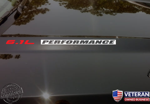 6.1L PERFORMANCE Hood Vinyl Decals Fits: Jeep Dodge Hemi SRT8 Chrysler INV