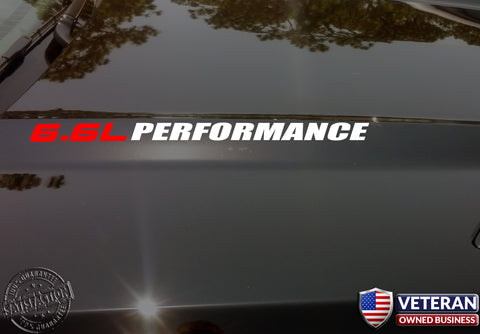 6.6L PERFORMANCE Hood vinyl sticker decals Chevrolet GMC Sierra Duramax