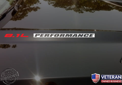 8.1L PERFORMANCE Hood Vinyl Decals Stickers Fits Chevrolet Big Block 496 cid INV