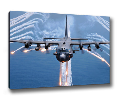 AC-130H Flare Jettison  Canvas Print