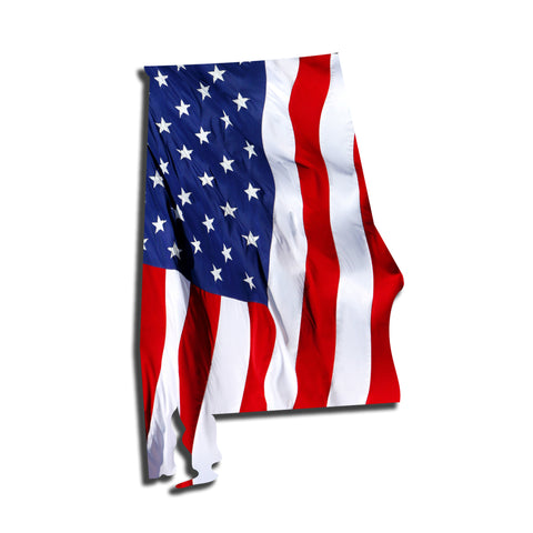 Alabama Waving USA American Flag. Patriotic Vinyl Sticker