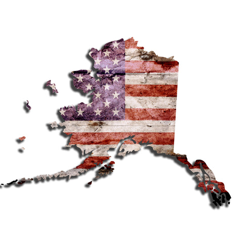 Alaska Distressed Tattered Subdued USA American Flag Vinyl Sticker