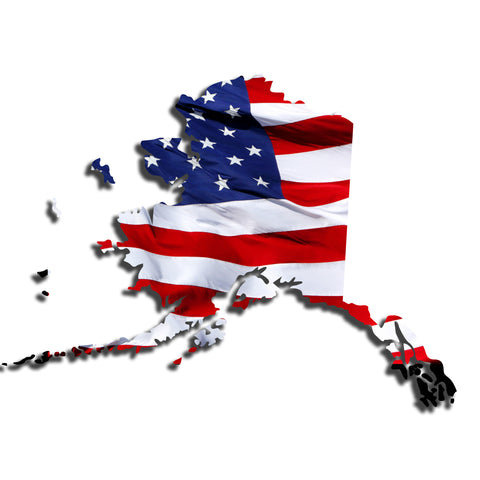 Alaska Waving USA American Flag. Patriotic Vinyl Sticker