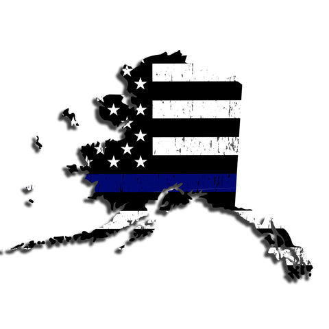 Alaska Distressed Subdued US Flag Thin Blue Line/Thin Red Line/Thin Green Line Sticker. Support Police/Firefighters/Military
