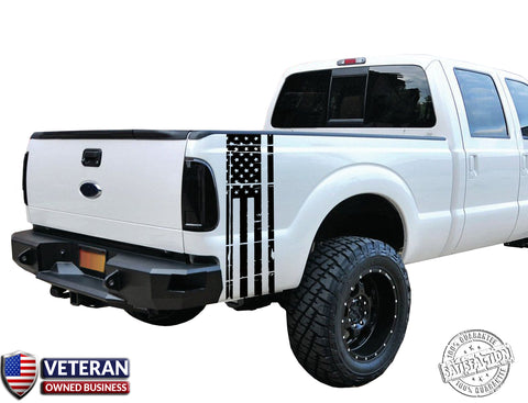 Universal Truck Distressed American Flag Bed stripe Vinyl Decal