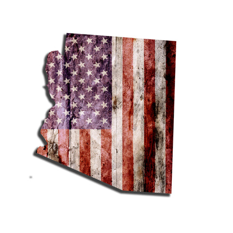 Arizona Distressed Tattered Subdued USA American Flag Vinyl Sticker