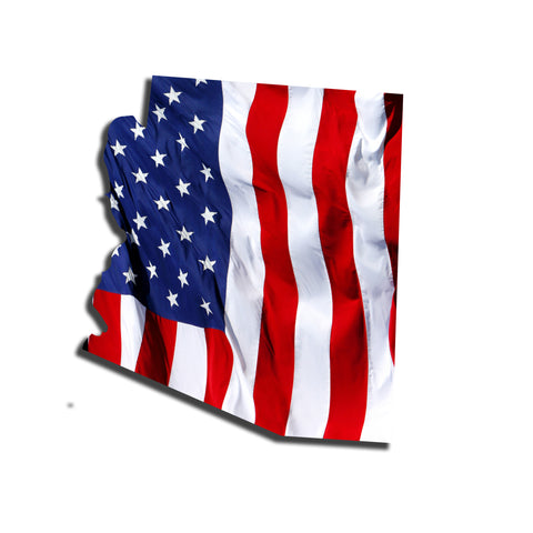 Arizona Waving USA American Flag. Patriotic Vinyl Sticker