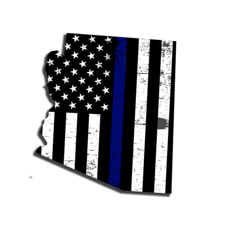 Arizona Distressed Subdued US Flag Thin Blue Line/Thin Red Line/Thin Green Line Sticker. Support Police/Firefighters/Military