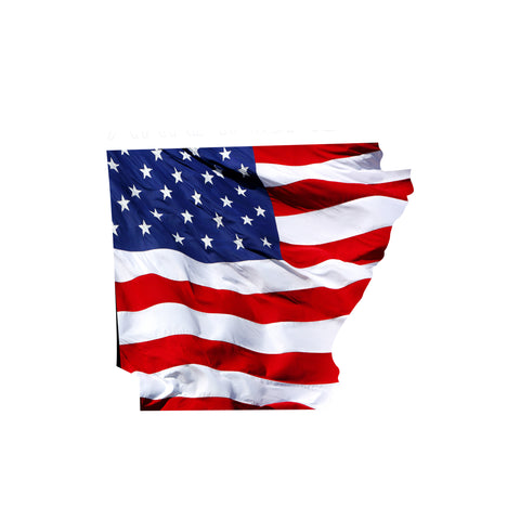 Arkansas Waving USA American Flag. Patriotic Vinyl Sticker
