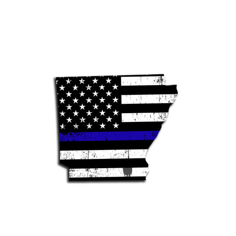 Arkansas Distressed Subdued US Flag Thin Blue Line/Thin Red Line/Thin Green Line Sticker. Support Police/Firefighters/Military