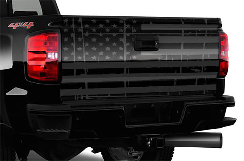 "Distressed American Flag Truck Tailgate Wrap Black and Grey 66"" x 26"""