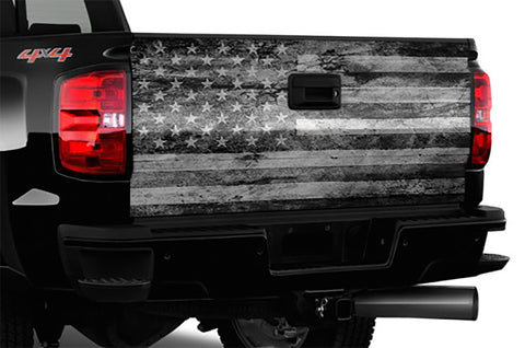 "Black and White Distressed American Flag Truck Tailgate Wrap 66"" x 26"""
