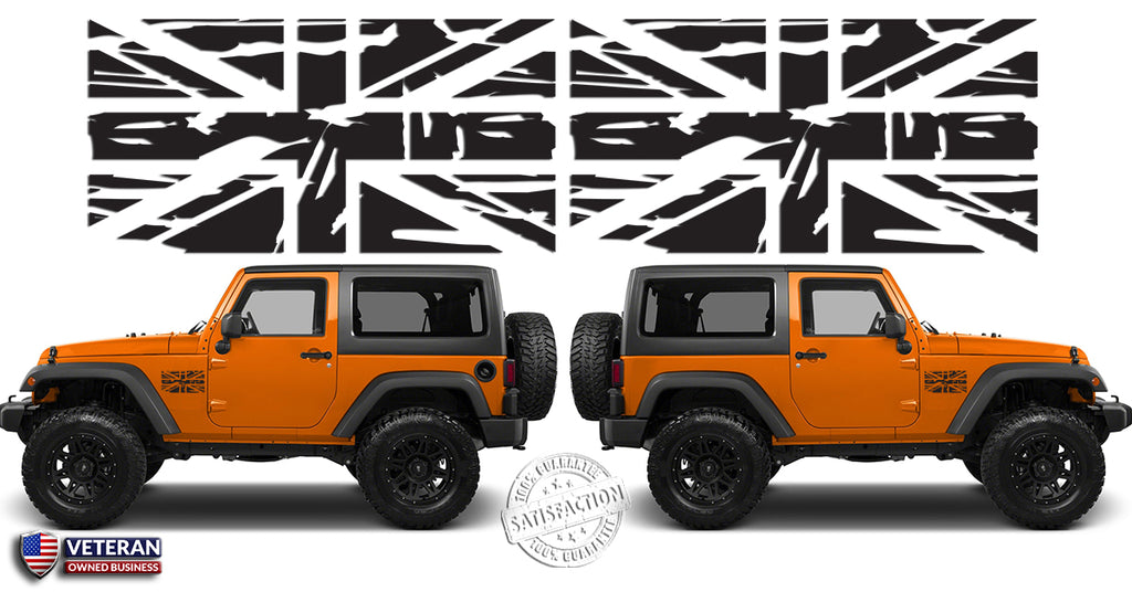 2 Union Jack Distressed Flags Great Britain Vinyl Decals Fits Jeep Wrangler