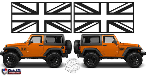 (2) Union Jack Flags Great Britain Vinyl Decals Window Doors fits: Jeep Wrangler