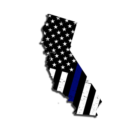 California Distressed Subdued US Flag Thin Blue Line/Thin Red Line/Thin Green Line Sticker. Support Police/Firefighters/Military