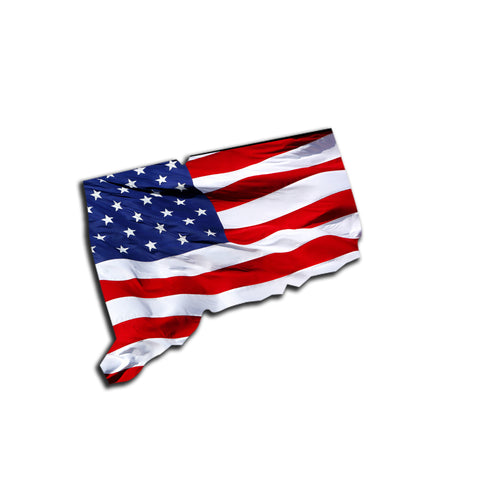 Connecticut Waving USA American Flag. Patriotic Vinyl Sticker