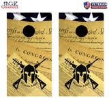 2x Molan Labe US Constitution Cornhole Board Bag Toss Wrap Set-Universal Fit 2A