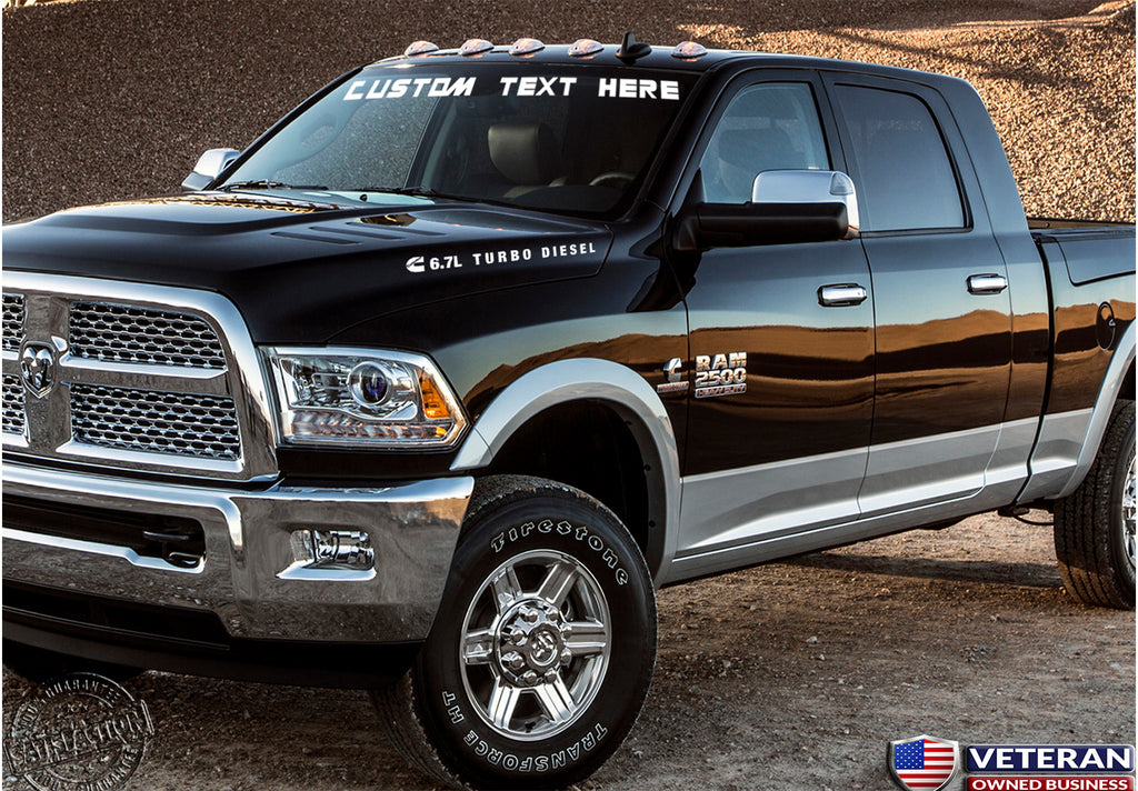 Custom Dodge Ram 1500 >> Custom Text Windshield Banner Vinyl Decal Fits Dodge Ram 1500 2500 3500 Cummins