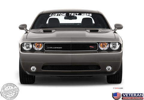 Custom Text Windshield Banner Vinyl Decal-Fits Dodge Challenger SRT RT 2000-2015