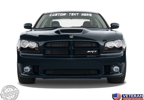 Custom Text Windshield Banner Vinyl Decal-Fits Dodge Charger SRT R/T 2010-2015