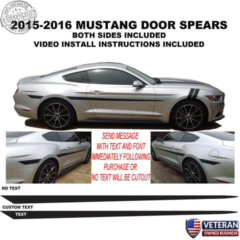 2015 & UP FORD MUSTANG DOOR SPEAR LANCE Textured Carbon Fiber Vinyl Stripe Decals 5.0L GT ECO