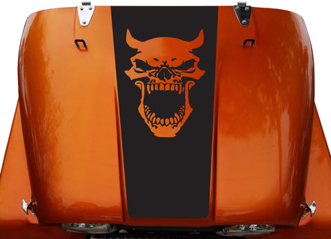 Hood Blackout Demon Skull Evil Vinyl Decal Sticker fit: Jeep CJ 5 6 7 8