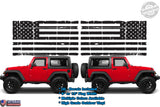 (2) 6 or 12 inch American Flag Worn Torn Ripped Window Door Fender Vinyl Decals