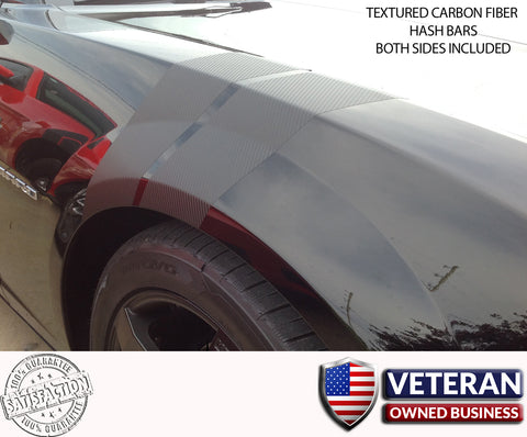 Camaro Fender CARBON FIBER Hash Bars Grand Sport vinyl stripes Both Sides Chevy