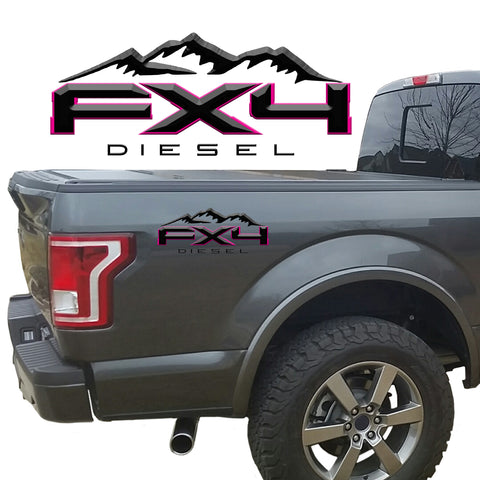 FX4 Diesel Mountains 2-Color 3D Vinyl Decal Fits All Makes and Models