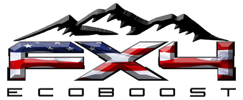FX4 Eco Boost Mountains American Flag 3D Vinyl Decal Fits All Makes and Models