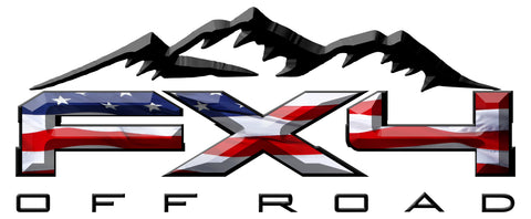 FX4 Off Road Mountains American Flag 3D Vinyl Decal Fits All Makes and Models