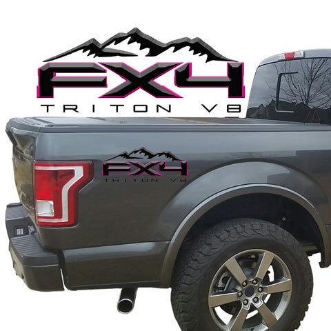 FX4 Triton V8 Mountains 2-Color 3D Vinyl Decal Fits All Makes and Models