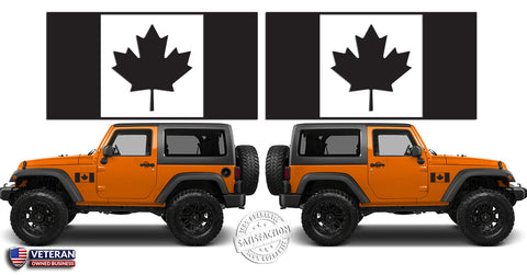 "(2) 6 or 12"" Flag of Canada Maple Leaf Vinyl Decals Window Door fit: Jeep Wrangler TJ JK"