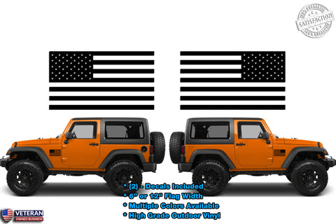 (2) Standard USA Flag Vinyl Decals fits Jeep Trucks Universal