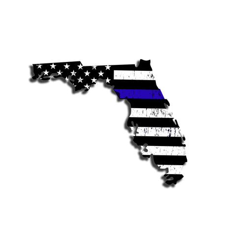 Florida Distressed Subdued US Flag Thin Blue Line/Thin Red Line/Thin Green Line Sticker. Support Police/Firefighters/Military